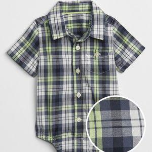 Gap Boys Button-up Body Suit Blue/Green Plaid NWT